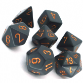 Grey & Copper Opaque Polyhedral 7 Dice Set